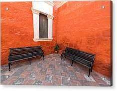 Two Benches In A Monastery Acrylic Print by Jess Kraft