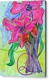 Two Big Pink Blooms Acrylic Print by Lynda Cookson