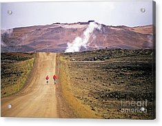 Two Bikers On A Dirt Road Leading To A Geothermal Power Station At Myvatn Acrylic Print by Sami Sarkis