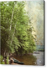 Acrylic Print featuring the digital art Two Birches by Christopher Meade
