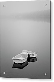 Two Boats And Fog Acrylic Print by Dave Gordon
