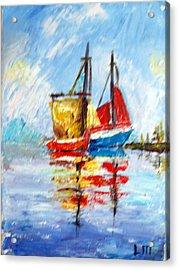 Two Boats Acrylic Print by Lia  Marsman