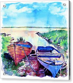 Two Boats On A Shore Acrylic Print by Marian Voicu