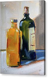 Acrylic Print featuring the painting Two Bottles by Nancy Merkle