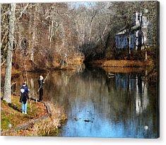 Two Boys Fishing Acrylic Print by Susan Savad