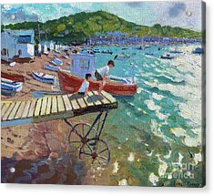 Two Boys On The Landing Stage, Teignmouth Acrylic Print by Andrew Macara