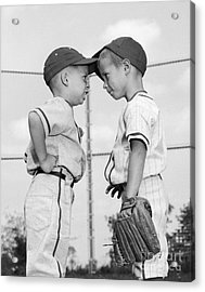 Two Boys Playing Baseball Arguing Acrylic Print by H. Armstrong Roberts/ClassicStock