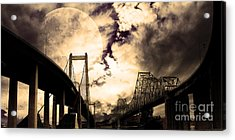 Two Bridges One Moon Acrylic Print by Wingsdomain Art and Photography