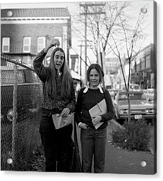 Two Brown Students, Thayer Street, Providence, 1972 Acrylic Print