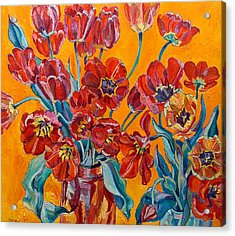 Two Bunches Of Red Tulips Acrylic Print by Vitali Komarov