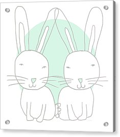 Two Bunnies- Art By Linda Woods Acrylic Print by Linda Woods