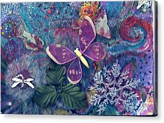 Two Butterflies And A Snow Flake Acrylic Print by Anne-Elizabeth Whiteway