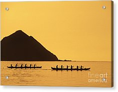 Two Canoes Silhouetted Acrylic Print by Dana Edmunds - Printscapes