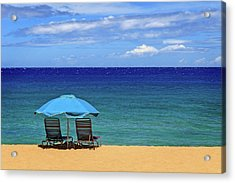 Acrylic Print featuring the photograph Two Chairs And An Umbrella by James Eddy