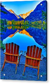 Two Chairs In Paradise Acrylic Print by Scott Mahon