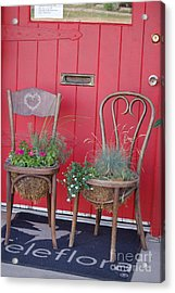 Acrylic Print featuring the photograph Two Chairs With Plants by Frank Stallone
