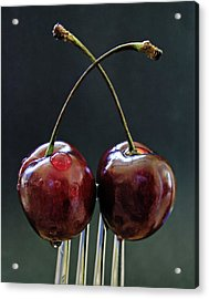 Two Cherries Are Better Than One Acrylic Print by Maggie Terlecki