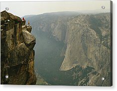 Two Climbers Take In The View Acrylic Print by Bill Hatcher