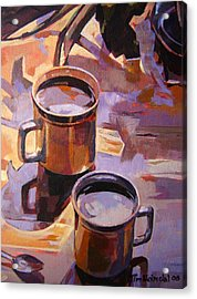 Acrylic Print featuring the painting Two Coffees Take 2 by Tim  Heimdal