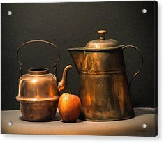 Acrylic Print featuring the photograph Two Copper Pots And An Apple by Frank Wilson