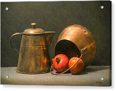 Acrylic Print featuring the photograph Two Copper Pots Pomegranate And An Apple by Frank Wilson