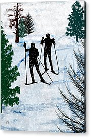 Two Cross Country Skiers In Snow Squall Acrylic Print by Elaine Plesser