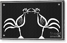 Two Crowing Roosters 2 Acrylic Print by Sarah Loft