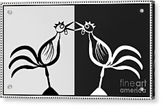 Two Crowing Roosters 3 Acrylic Print by Sarah Loft
