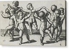 Two Cupids Leading Children In A Dance Acrylic Print by Marcantonio Raimondi
