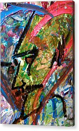 Acrylic Print featuring the painting Two Dimenssional Head by Ray Khalife