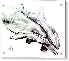 Two Dolphins Acrylic Print by John Keaton