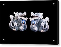 Two Dragons On Black Acrylic Print by Bill Barber