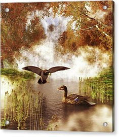 Two Ducks In A Pond Acrylic Print