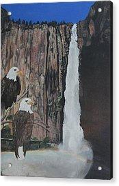 Two Eagles Near The Falls Acrylic Print