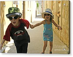 Two Excited Children Acrylic Print by Danny Yanai