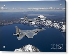 Two F-15 Eagles Fly Over Crater Lake Acrylic Print by HIGH-G Productions