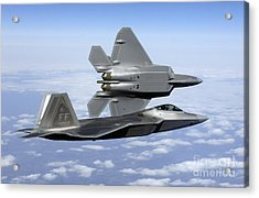 Two F-22a Raptors In Flight Acrylic Print by Stocktrek Images