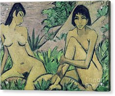 Two Female Nudes In A Landscape, 1922 Acrylic Print by Otto Muller or Mueller