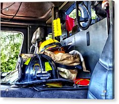Two Firefighter's Helmets Inside Fire Truck Acrylic Print by Susan Savad