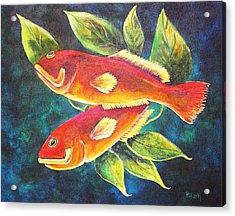 Two Fish Acrylic Print by Patricia Piffath