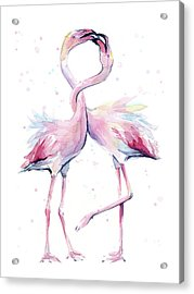 Two Flamingos Watercolor Famingo Love Acrylic Print