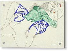 Two Friends, Reclining   Tenderness Acrylic Print by Egon Schiele
