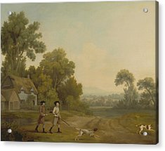 Two Gentlemen Going A Shooting Acrylic Print by George Stubbs