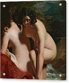 Two Girls Bathing Acrylic Print by William Etty