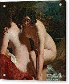 Two Girls Bathing Acrylic Print by William Etty