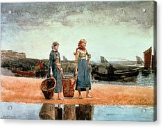 Two Girls On The Beach Acrylic Print by Winslow Homer