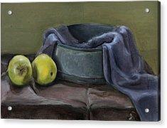 Two Green Apples Acrylic Print by Raimonda Jatkeviciute-Kasparaviciene