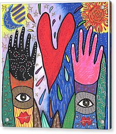 Two Hands Acrylic Print by Sharon Nishihara