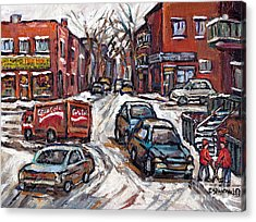 Two Hockey Pals In Ville Emard Winter Street Scene Painting Felix Mish Charcuterie Montreal Acrylic Print by Carole Spandau