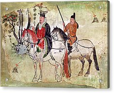 Two Horsemen In A Landscape Acrylic Print by Chinese School